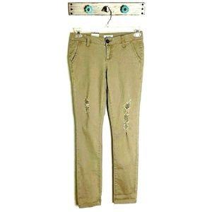 NEW BKE 25R Mollie Skinny Distressed Khaki Pants